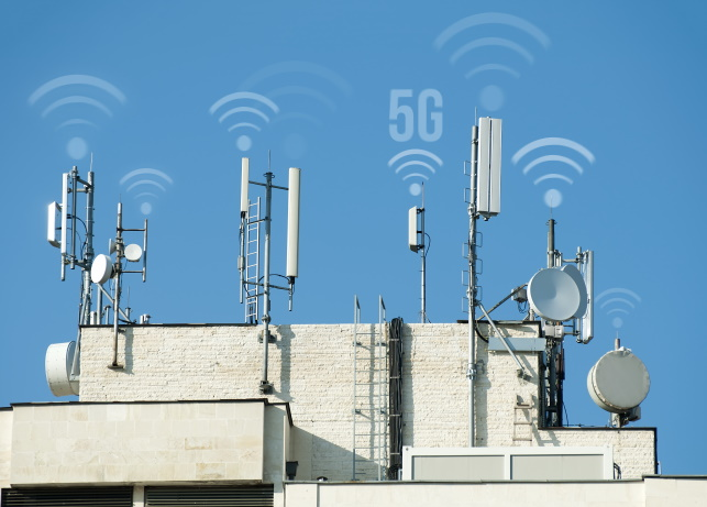 5G antennas and GSM transmitters. Concept for high speed 5G internet.